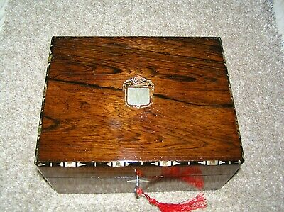 Antique Victorian Rosewood Jewellery/Trinket Box With Tray & Working Lock & Key.