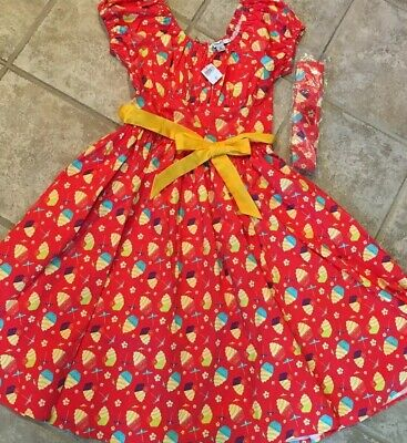 New Disney Parks Dole Whip Pineapple Swirl Dress Costume S with Headband