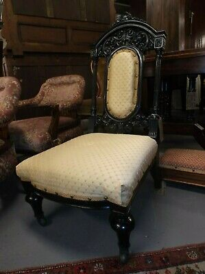 A Victorian Ebonised Beautifully Carved Nursing Bedroom Hall Chair