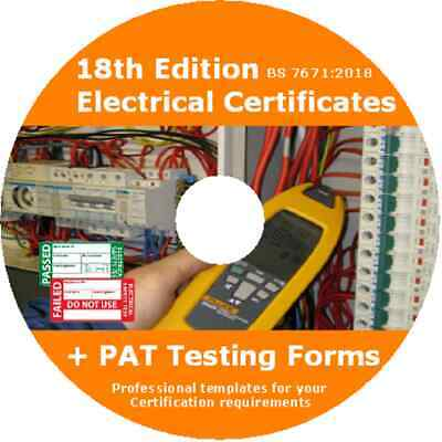 Electrical Certificates BS7671 18th Edition & PAT Testing Form download availabe