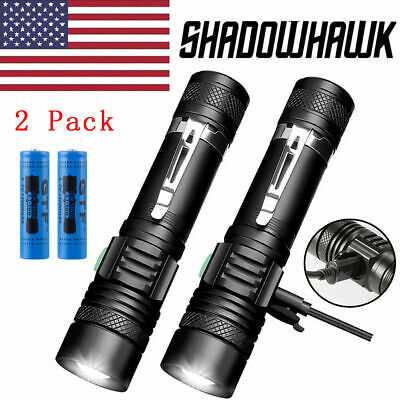 2 PACK 20000lm Shadowhawk Flashlight Rechargeable USB T6 LED Tactical Torch
