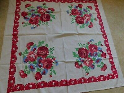 Vintage Red Rose And Blue Flower Tablecloth