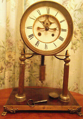 Antique large mantle drum head clock visable escapement