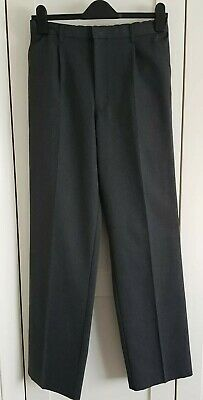 Boys Grey M&S Adjustable Waist Long School Trousers Age 15 Worn Once