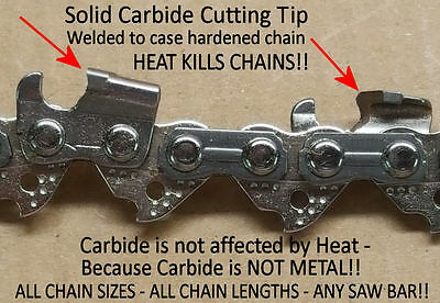 """SOLID CARBIDE Chainsaw Chain for 25/"""" Stihl 33RD3-84 Link 3//8/"""" 0.50/"""" *SEE VIDEO*"""