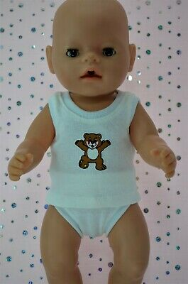 """Play n Wear Boys Dolls Clothes To Fit 17"""" Baby Born WHITE SINGLET~UNDIES"""