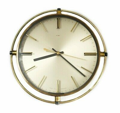 Vintage Quartz Brass & Glass Clock Round Wall Retro Decor Metamec England