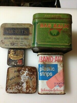 Vintage Lot of 5 Old Medicine Tins,bag balm,sucrets,ex-lax,band aid etc