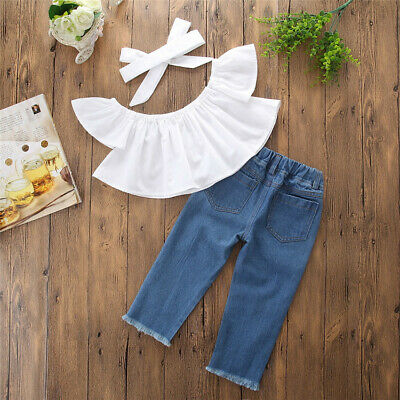 Tops+Pants T-Shirt Outfit Summer Cotton Sleeve Kids Girls Holes Jeans Clothes