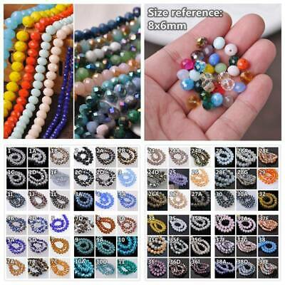 60pcs 8x6mm Rondelle Faceted Crystal Glass Loose Spacer Beads lot Jewelry Making