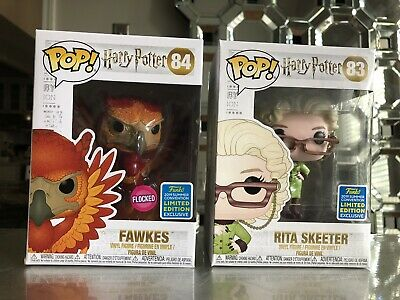 Funko Pop Lot Harry Potter SDCC Summer Exclusive Rita Skeeter & Flocked Fawkes