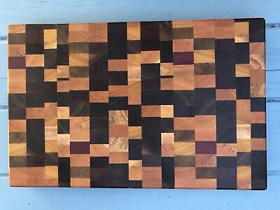 Rustic Exotic And Modern Wood End Grain Cutting Board Chaos Pattern STUNNING!!!