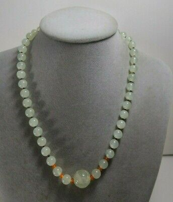 Vintage Chinese Pale Jade Carved Shou Bead Necklace Sterling Silver
