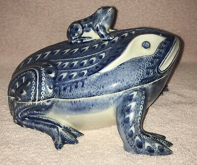 Blue White Frog Covered Tureen Dish Box Antique Chinese Export