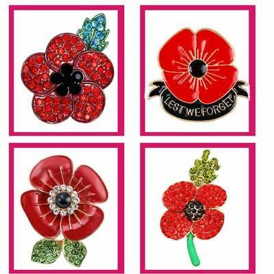 2019 New Poppy Day Badges Pin Lapel Red Enamel Crystal Brooch Badge Collection