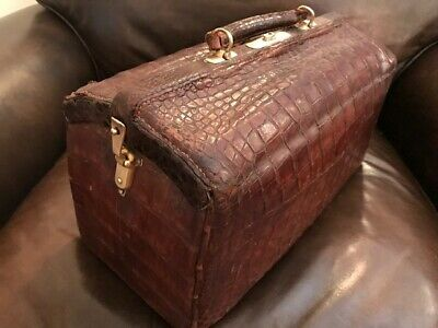 Alligator  Brass Doctor Bag with Medicine Gilted Silver Cup w Gator Holder