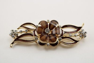 Brown rhinestone flower design frog closure