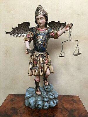 Antique Italy Hand Carved Polychrome Archangel, 18th-19th Century, 20.5 height