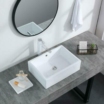 20 Inch Vessel Sink Modern Rectangle Sink Porcelain Ceramic Lavatory Vanity Bath