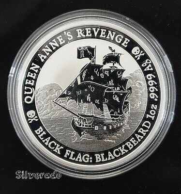 2019 Queen Anne's Revenge Blackflag Blackbeard Silver Coin Bullion 1 Oz Tuvalu