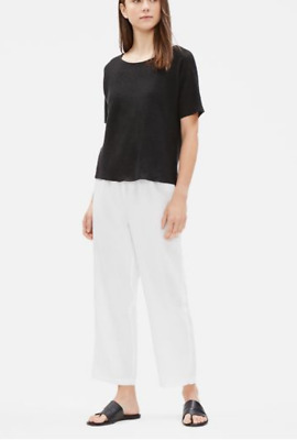 EILEEN FISHER  pants Linen Straight Cropped Pants White Small