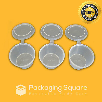 100 x 100ml Round Plastic Sauce Container Attached lids |Bulk| |Takeaway|