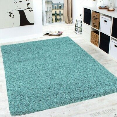 Duck Egg Blue Large/Small Size Thick Plain Soft Shaggy Living Room,Bedroom Rugs