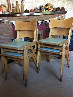 Vintage Mid Century Stacking Dining Chairs. Upcycle? Shabby Chic. Eclectic