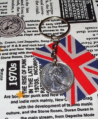 1 x 1968 - 1980 British Old Large Ten Pence Coin Keyring Key Chain Fob Birthday