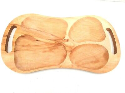 Wooden Serving tray with 4 sections ,large Barbecue tray untreated natural 23""