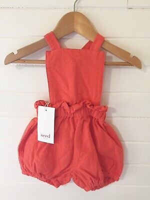 Seed Short Overalls Romper - BNWT - Size: 00 / 3-6 months (#D2369)