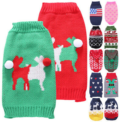 Small Pet Sweater Coat Christmas Style Dog Puppy Cat Clothes Dogs Warm Apparel