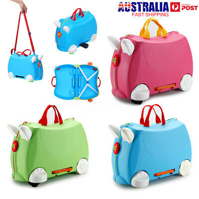 Kids Travel Hand Luggage Package Case Carry Ride on Suitcase Toy Box 3 Colors