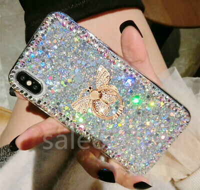 Bling Crystal Diamond ring stand Glitter Soft Gel TPU Case Cover For Cell Phones
