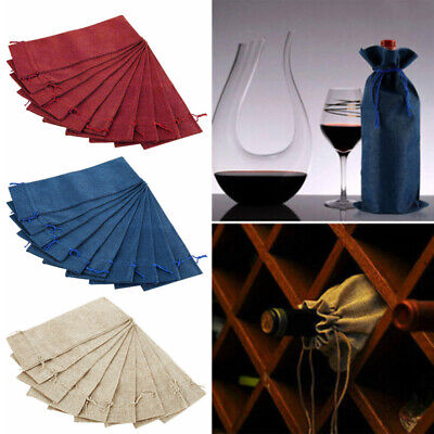 10pcs Bottle Wine Drawstring Bag Wrapping Cover Packaging Wedding Party Decor