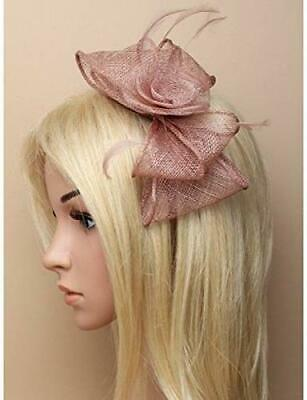 6499 Mocha looped sinamay and feather fascinator on a narrow aliceband Wedding