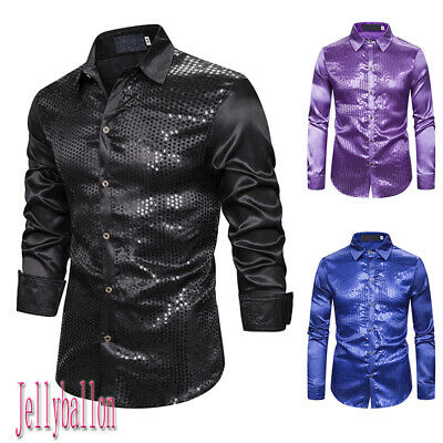 Mens Sequin Shirt Slim Fit Long Sleeve Tops Formal Party Costume Fancy Dress