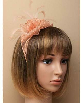 6502 Nude looped sinamay and fine feather fascinator on aliceband Wedding Races