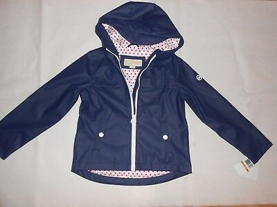 New Michael Kors Girl's navy blue rain coat with hood 6yr RRP £95