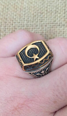 Solid 925 Sterling Silver AAA+++ Mohammed Allah Arabic Designer Mens Ring #E16
