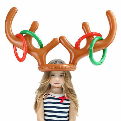 Inflatable Reindeer Antler Hat Ring Toss Game Christmas Home Office Party Favors