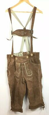 Almleben Lederhosen Oktoberfest Brown Leather Size 50 Decorative Stitching