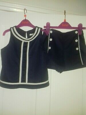 M&S Girls Top And Shorts Set Age 6-7 Navy Blue Excellent Condition