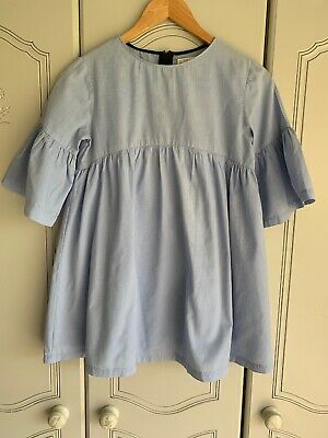 Girls 11/12 Cotton Denim Blue Zara Top Smock Style Pre Owned