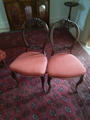 Pair of Victorian balloon backed chairs