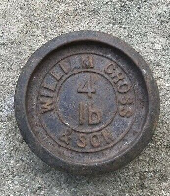 Vintage William Cross & Son - 4lb Imperial - Round Cast Iron Metal Scales Weight