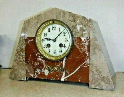 Antique Art Deco French Chime 8 Day Marble Cabinet Clock Working W Pendulum /Key