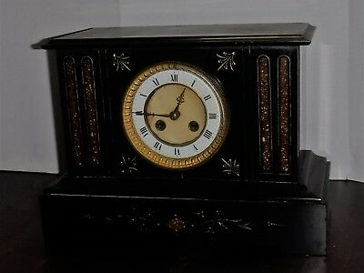 Antique Art Nouveau French Chime 8 Day Marble / Slate Cabinet Clock Working