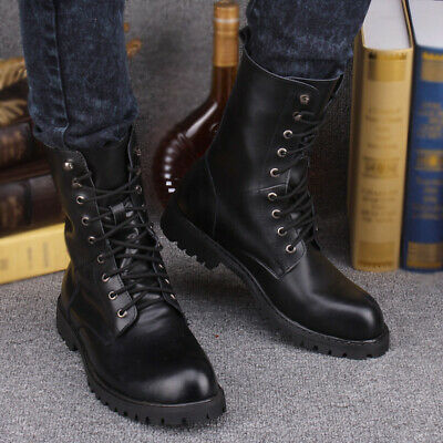US Men Genuine Leather Combat Boots Winter Shoes Lace up Military Army Outdoor