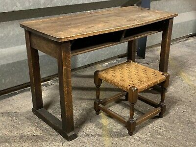 Charming antique solid oak childrens writing desk table with rush seated stool